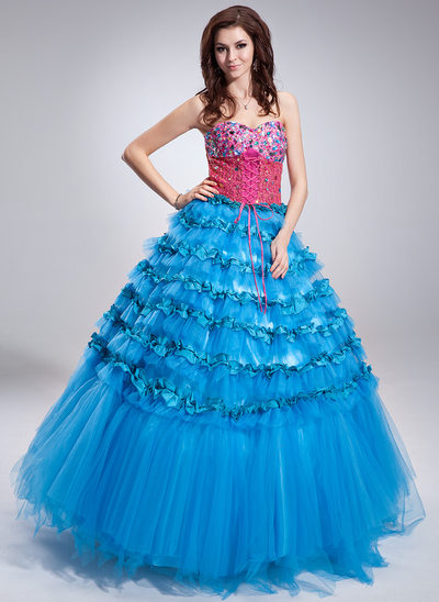 Ball-Gown Sweetheart Floor-Length Satin Tulle Sequined Quinceanera Dress With Beading Cascading Ruffles