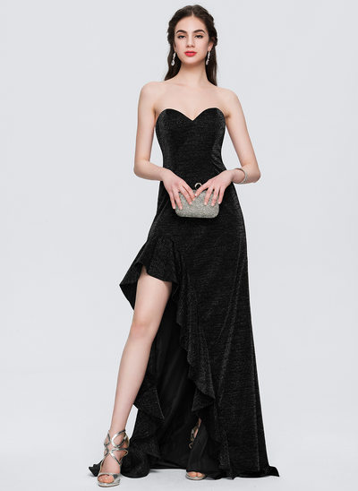 A-Line/Princess Strapless Sweetheart Asymmetrical Jersey Prom Dresses With Cascading Ruffles