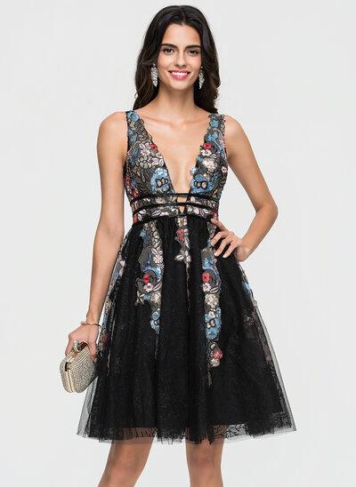 Corte A Decote V Coquetel Tule Vestido de boas vindas com Renda Beading lantejoulas