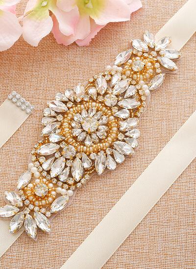 Exquisito Satén Fajas con Diamantes de imitación