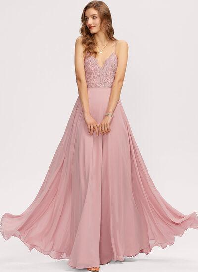 Çan V yaka Uzun Etekli Şifon Nedime Elbisesi