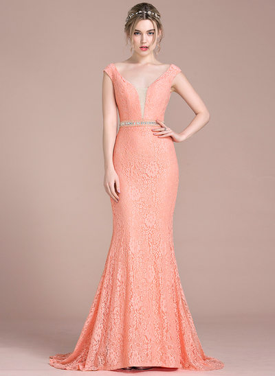 Trumpet/Mermaid V-neck Sweep Train Lace Prom Dress With Beading