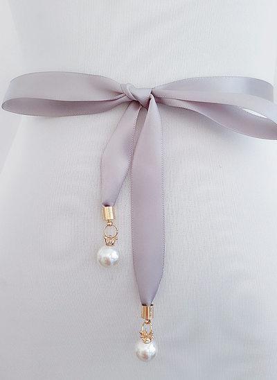 Elegant Satin Schleifenbänder/Stoffgürtel mit Faux-Perlen