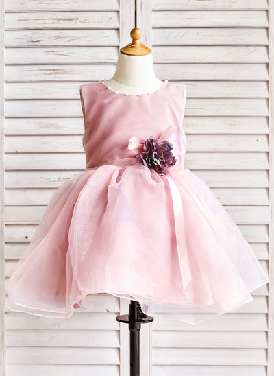 A-Line/Princess Knee-length Flower Girl Dress - Organza Sleeveless Scoop Neck With Beading/Flower(s)/Bow(s)