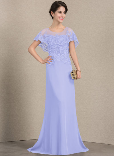 Princesový Kruhový výstřih Dlouhá vlečka Šifón Krajka Šaty pro matku nevěsty