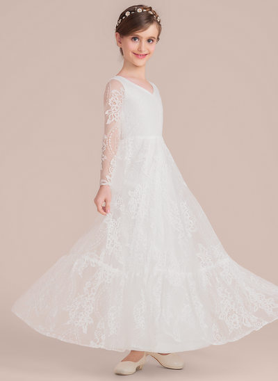 A-Line/Princess Scoop Neck Floor-Length Lace Junior Bridesmaid Dress