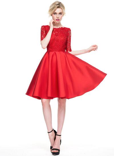 Vestidos princesa/ Formato A Decote redondo Coquetel Cetim Renda Vestido de cocktail