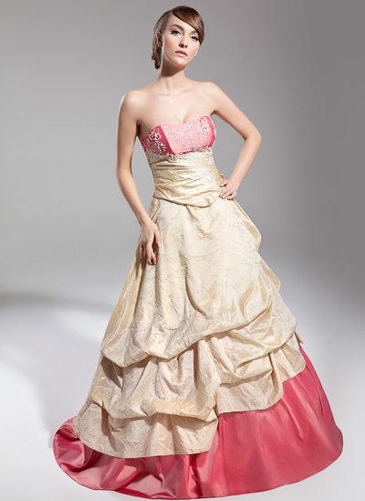 Duchesse-Linie Schatz Sweep/Pinsel zug Taft Quinceañera Kleid (Kleid für die Geburtstagsfeier) mit Rüschen Spitze