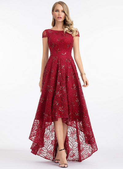 A-Line Scoop Neck Asymmetrical Lace Evening Dress