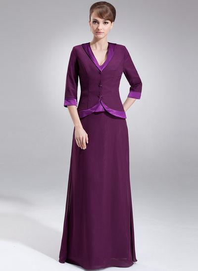 A-Line/Princess V-neck Floor-Length Chiffon Charmeuse Mother of the Bride Dress