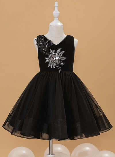 Ball-Gown/Princess Knee-length Flower Girl Dress - Tulle/Velvet Sleeveless V-neck With Lace/Sequins