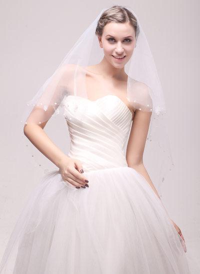 One-tier Cut Edge Waltz Bridal Veils With Beading