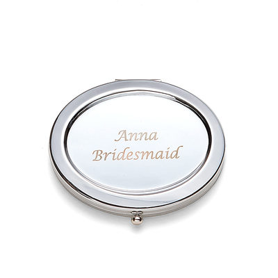 Bridesmaid Gifts - Personalized Beautiful Classic Elegant Stainless Steel Compact Mirror