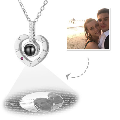 Custom Sterling Silver I Love You Necklace In 100 Languages Projection Heart Photo Necklace With Cubic Zirconia - Mother's Day Gifts
