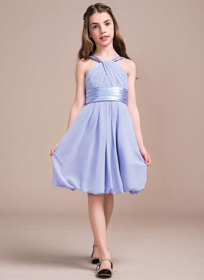 A-Line/Princess V-neck Knee-Length Chiffon Junior Bridesmaid Dress With Ruffle