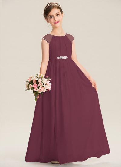 A-Line Scoop Neck Floor-Length Chiffon Junior Bridesmaid Dress With Beading Sequins