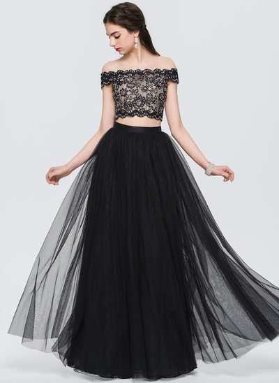 A-Line/Princess Off-the-Shoulder Floor-Length Tulle Prom Dresses With Beading Sequins