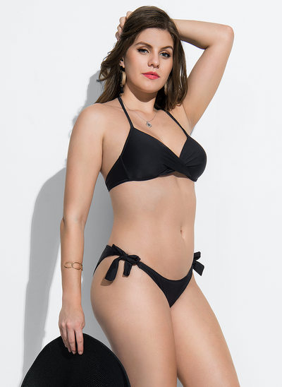 Elegant Bøjle Lav Talje Polyester Bikinier badedragt