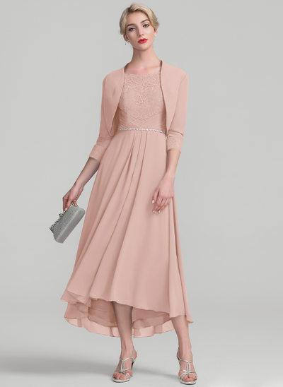 A-Linie/Princess-Linie U-Ausschnitt Asymmetrisch Chiffon Spitze Kleid für die Brautmutter mit Perlstickerei
