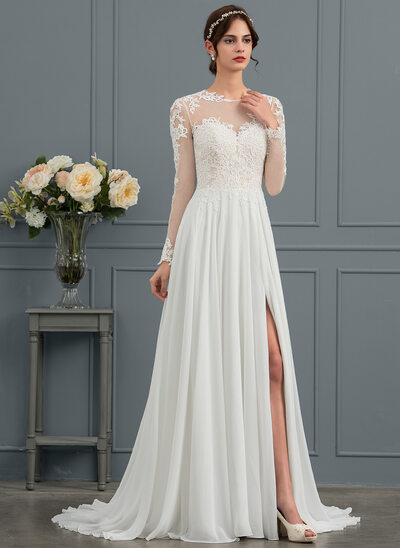 A-Line/Princess Scoop Neck Sweep Train Chiffon Wedding Dress With Appliques Lace Split Front