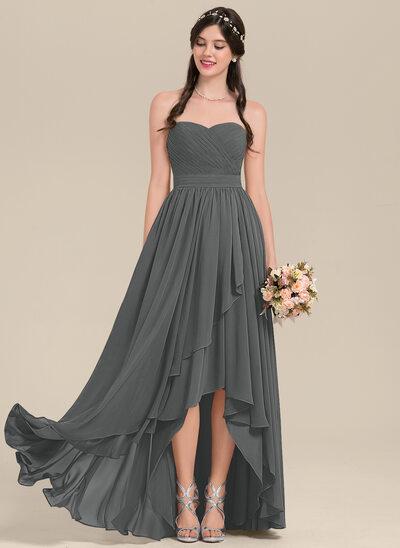 A-Line Sweetheart Asymmetrical Chiffon Bridesmaid Dress