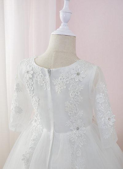 Gallakjole/Prinsesse Te-længde Blomsterpigekjoler - Tyl/Blonder Lange ærmer Rund-halsudskæring med Perlebesat/Blomst(er)