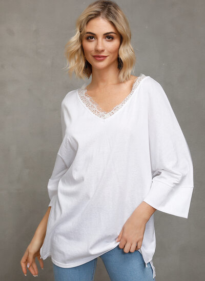 Lace Solid 3/4 Sleeves Polyester V Neck Blouses