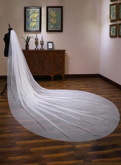 Uma camada Corte da borda Catedral véus de noivas com Renda