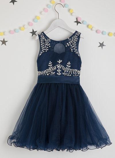 Corte A Coquetel Vestidos de Menina das Flores - Cetim/Tule Sem magas Decote redondo com Beading