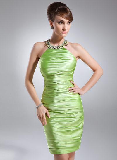 Etui-Linie U-Ausschnitt Knielang Charmeuse Cocktailkleid mit Rüschen Perlen verziert