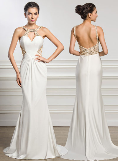 Trumpet/Mermaid Scoop Neck Sweep Train Jersey Evening Dress With Ruffle Lace Beading