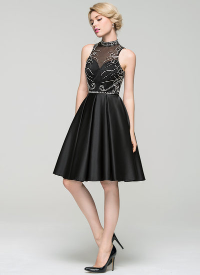 A-Linie/Princess-Linie High Neck Knielang Satin Cocktailkleid mit Perlstickerei Pailletten