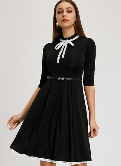 A-Line High Neck Knee-Length Cocktail Dress