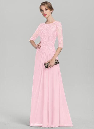 A-Linie/Princess-Linie U-Ausschnitt Bodenlang Chiffon Spitze Kleid für die Brautmutter mit Rüschen Pailletten