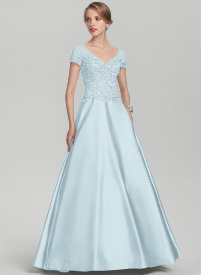 Vestidos princesa/ Formato A Decote V Longos Cetim Renda Vestido para a mãe da noiva com Beading lantejoulas