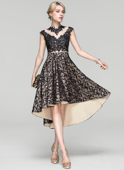 Vestidos princesa/ Formato A Decote redondo Assimétrico Renda Vestido de cocktail