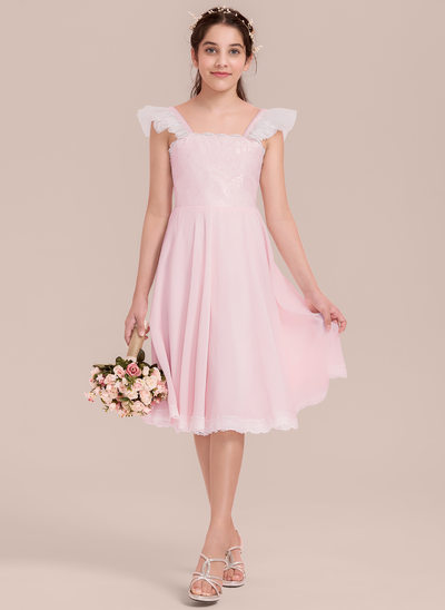 A-Line Square Neckline Knee-Length Chiffon Junior Bridesmaid Dress With Ruffle