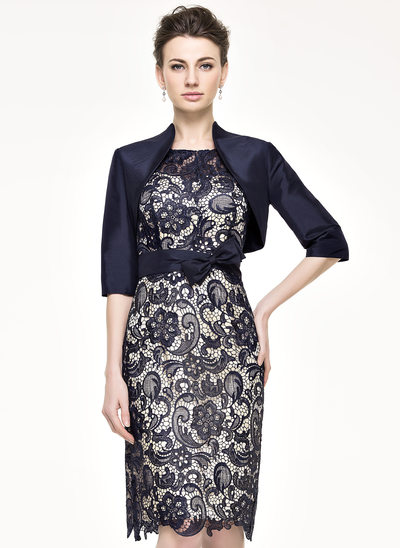 Sheath/Column Scoop Neck Knee-Length Taffeta Lace Cocktail Dress With Bow(s)