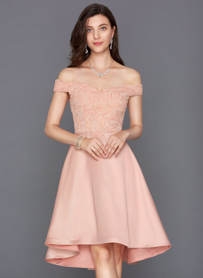 A-Linie/Princess-Linie Off-the-Schulter Asymmetrisch Satin Cocktailkleid