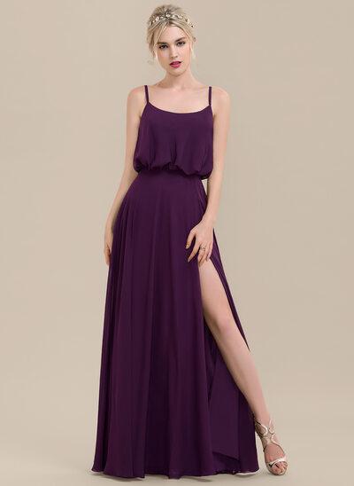 A-Line/Princess Square Neckline Floor-Length Chiffon Bridesmaid Dress With Split Front