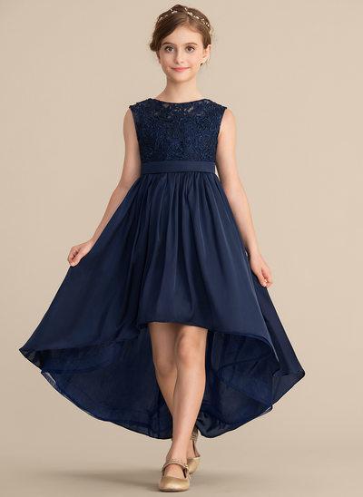 A-Linie/Princess-Linie U-Ausschnitt Asymmetrisch Spitze Satin-Chiffon Kleid für junge Brautjungfern mit Schleife(n)