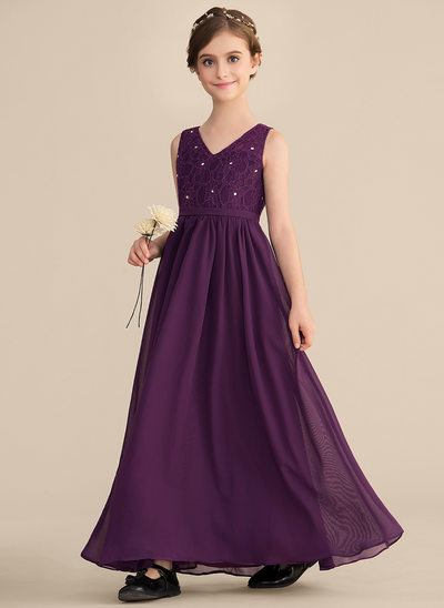 A-Line/Princess V-neck Floor-Length Chiffon Lace Junior Bridesmaid Dress With Beading