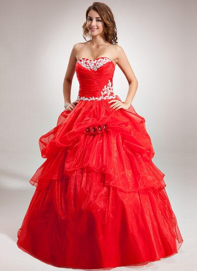 Duchesse-Linie Herzausschnitt Bodenlang Organza Quinceañera Kleid (Kleid für die Geburtstagsfeier) mit Rüschen Applikationen Spitze Blumen