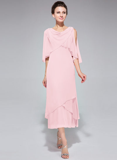 A-Line/Princess Cowl Neck Tea-Length Chiffon Mother of the Bride Dress With Beading Sequins Cascading Ruffles
