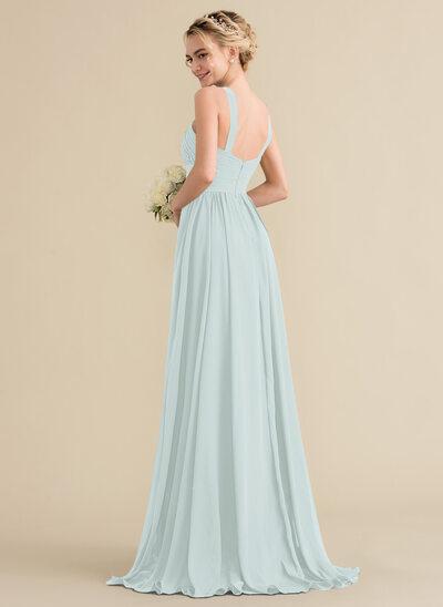 A-Line/Princess V-neck Sweep Train Chiffon Bridesmaid Dress With Ruffle