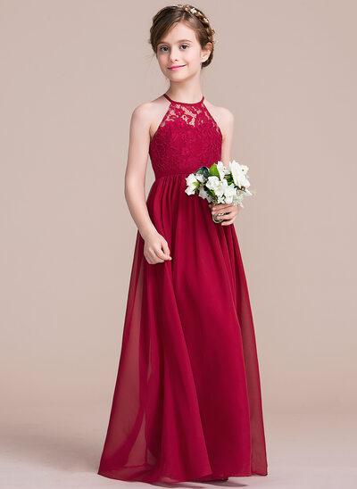 A-Line/Princess Floor-length Flower Girl Dress - Chiffon/Lace Sleeveless Scoop Neck