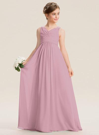 С завышенной талией V-образный Длина до пола шифон Платье Юнных Подружек Невесты с Рябь развальцовка блестки