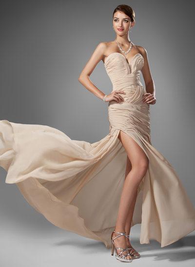 Trompete/Sereia Amada Sweep/Brush trem Tecido de seda Vestido de baile com Pregueado Beading Frente aberta