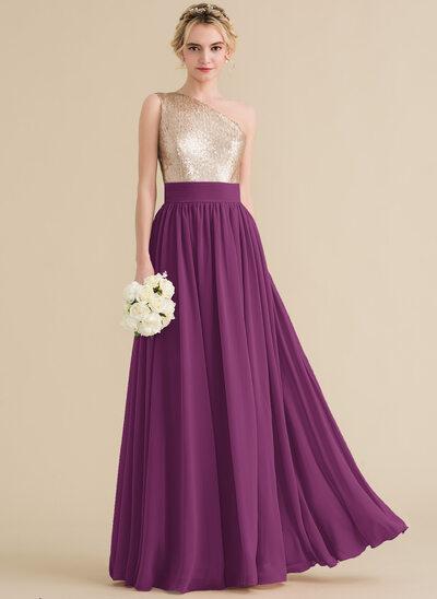 A-Line/Princess One-Shoulder Floor-Length Chiffon Sequined Bridesmaid Dress