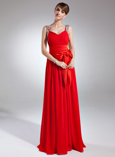 A-Line/Princess V-neck Floor-Length Chiffon Holiday Dress With Ruffle Beading Sequins Bow(s)